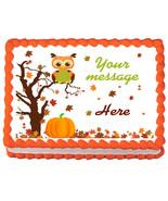 AUTUMN OWL Image Edible cake topper Party decoration - $6.50+