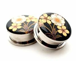 Pair of Screw on Flower Style 4 Picture Plugs Gauges Size Please Choose ... - $16.83