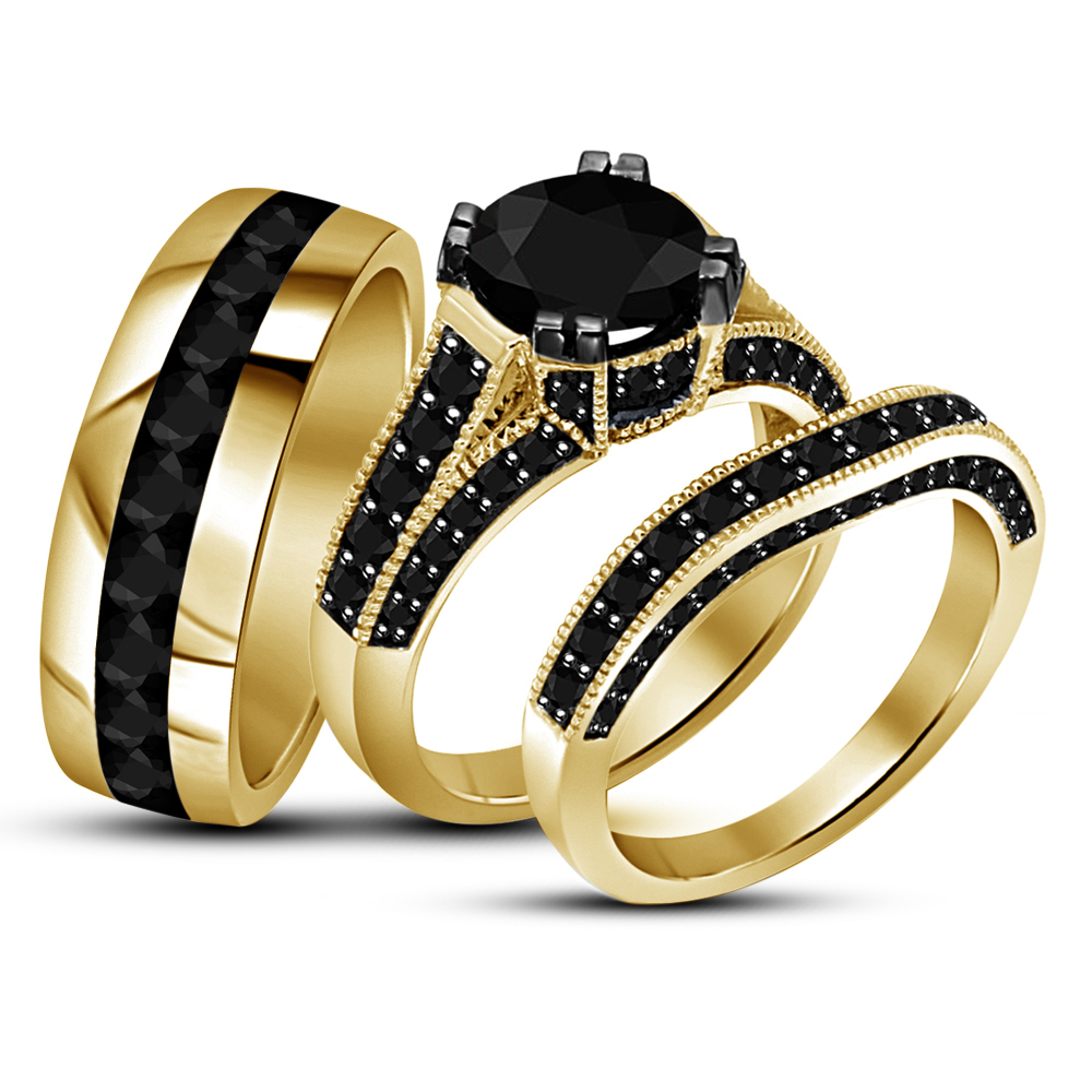 Primary image for Black Diamond His Her Wedding Engagement Ring Trio Set 14k Gold Over 925 Silver