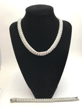 Vintage Silvertone Pave Clear Crystal Choker Necklace and Matching Brace... - $15.19