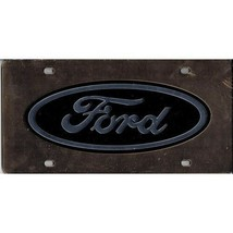 ford auto car logo black on gold laser license plate made in usa - $36.09