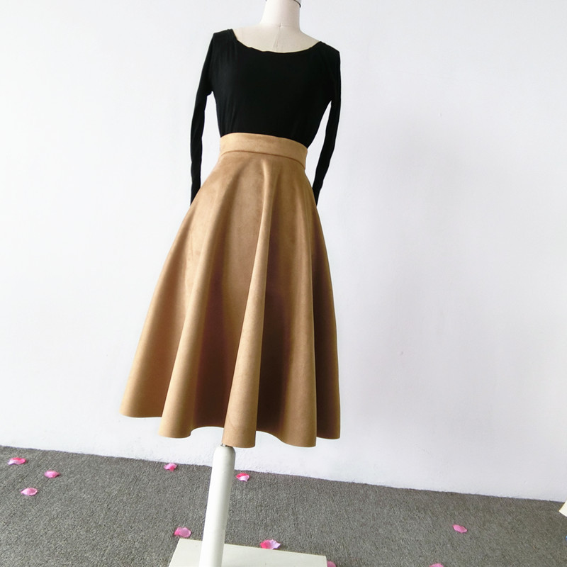 Women SUEDE Circle Skirt Autumn Winter SUEDE Midi Party Skirt, Camel Black Green