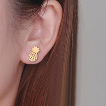 Gold Pineapple Stud Earrings - Pineapple Earrings - Simple Pineapple Studs - $12.67