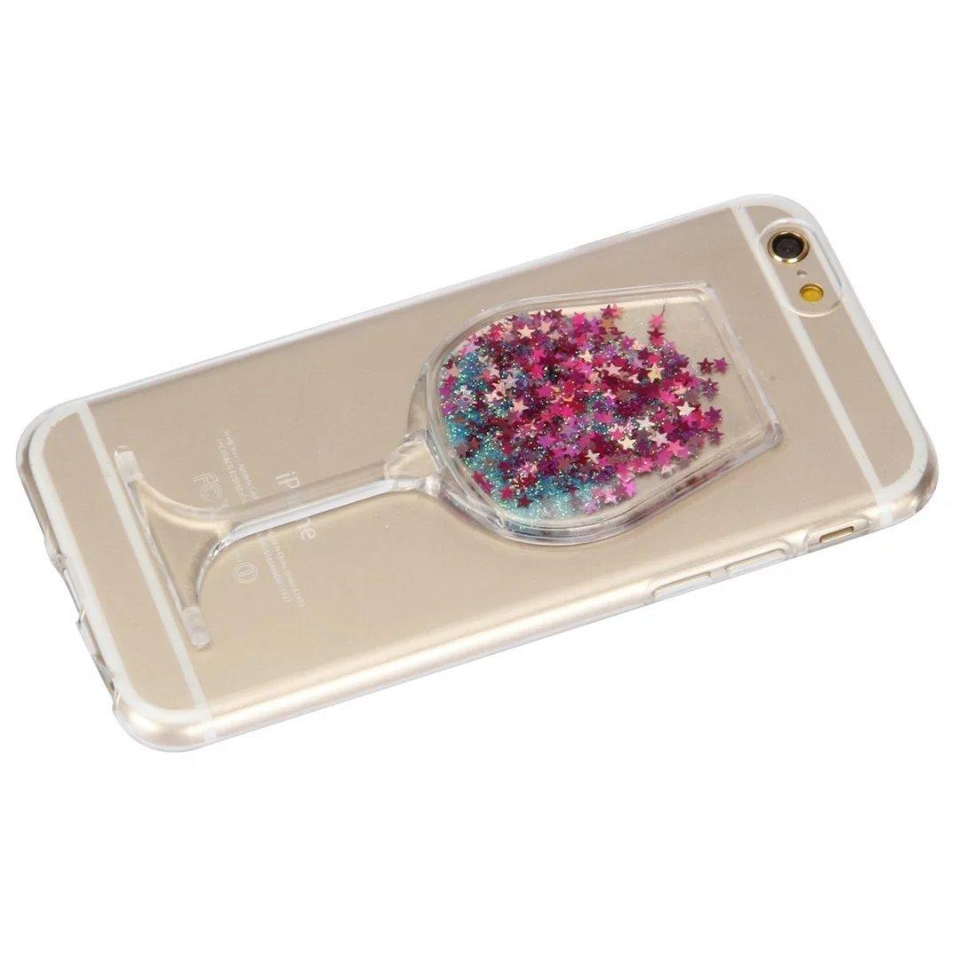 LG X Power Liquid Case,Handmade Sexy Lip Diamond Goblet Wine Glass Floating Liqu