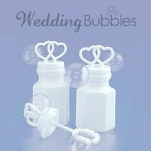 (200) White Double Heart Wedding Two Bubbles Bottles Wholesale Lot - $45.99