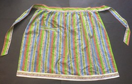 Vtg Half Apron Funky Seventies Pattern Striped Floral Green Blue Orange ... - $7.91