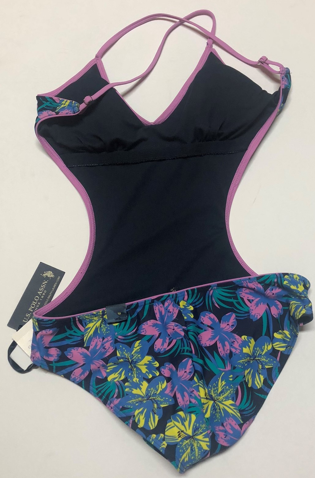U.S. Polo One Piece Swimsuit Floral Open Back Sz M image 4