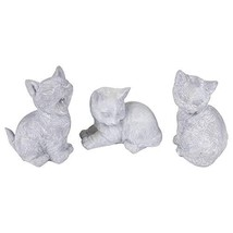 OSW Milk White Playful Kittens 5.5 x 4.5 inch Clay Indoor Outdoor Figuri... - $8.98