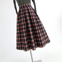 RED PLAID Women Midi Skirt Autumn Classic Plus Size Flannel Long Plaid Skirts image 13