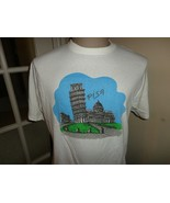 Vtg 90's White Single Stitch Leaning Tower Pisa Cotton Tshirt Fits Adult... - $34.60