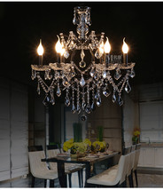 "Athena Iron & Crystal Chandelier Vintage E14 Light Ceiling Lamp 25.5"" - $346.19"