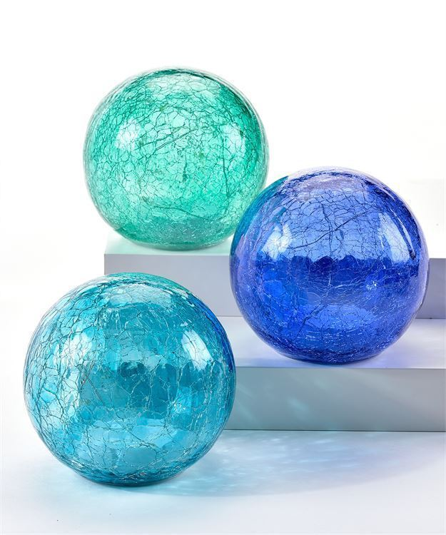 Set of 3 Blue Skies Design LED Lighted Orbs -  Teal, Light Blue, Green Colored