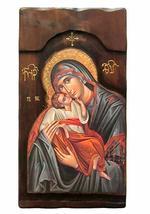 Wooden Greek Christian Orthodox Wood Icon of Virgin Mary / K4-1 - $158.30