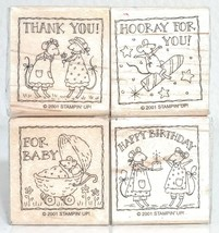 Stampin Up 2001 Mouse Lot Of 4 Thank You Hooray For You Happy Birthday For Baby - $6.92