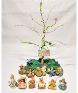 1997 Spring Is In The Air 12 Ornaments & Display Tree by Enesco Chicken - $24.74