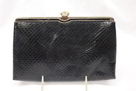 Vintage ANDE Black Textured Silver Frame Top Cocktail Purse/Evening Bag-B32 - $28.00