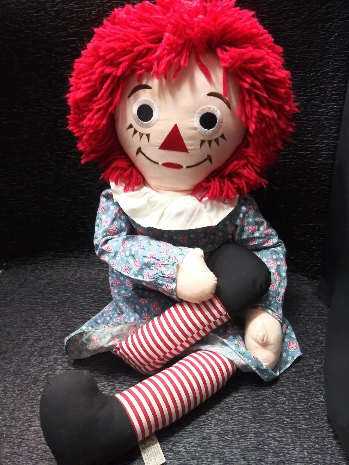 """VINTAGE LARGE 36"""" RAGGEDY ANN DOLL IN DRESS 1991 johnny gruelle applause I love"""