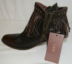 Lucky And Blessed SH 11 Dark Brown Leather Boots Fringe Metal Studs Size 9 image 6