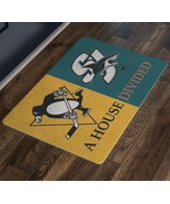 San Jose Sharks Pittsburgh Penguins Welcome Doormat House Divided Man Ca... - $37.00