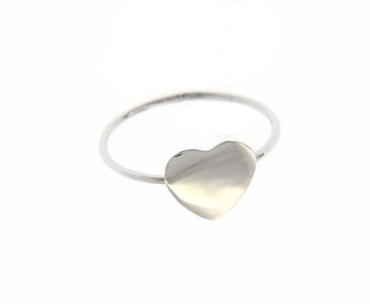 18K WHITE GOLD FLAT HEART LOVE RING SMOOTH, BRIGHT, LUMINOUS, MADE IN ITALY