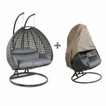 2 Person Outdoor Hammock Hanging Wicker Swing Chair Rattan Egg Swing Cha... - $1,014.98