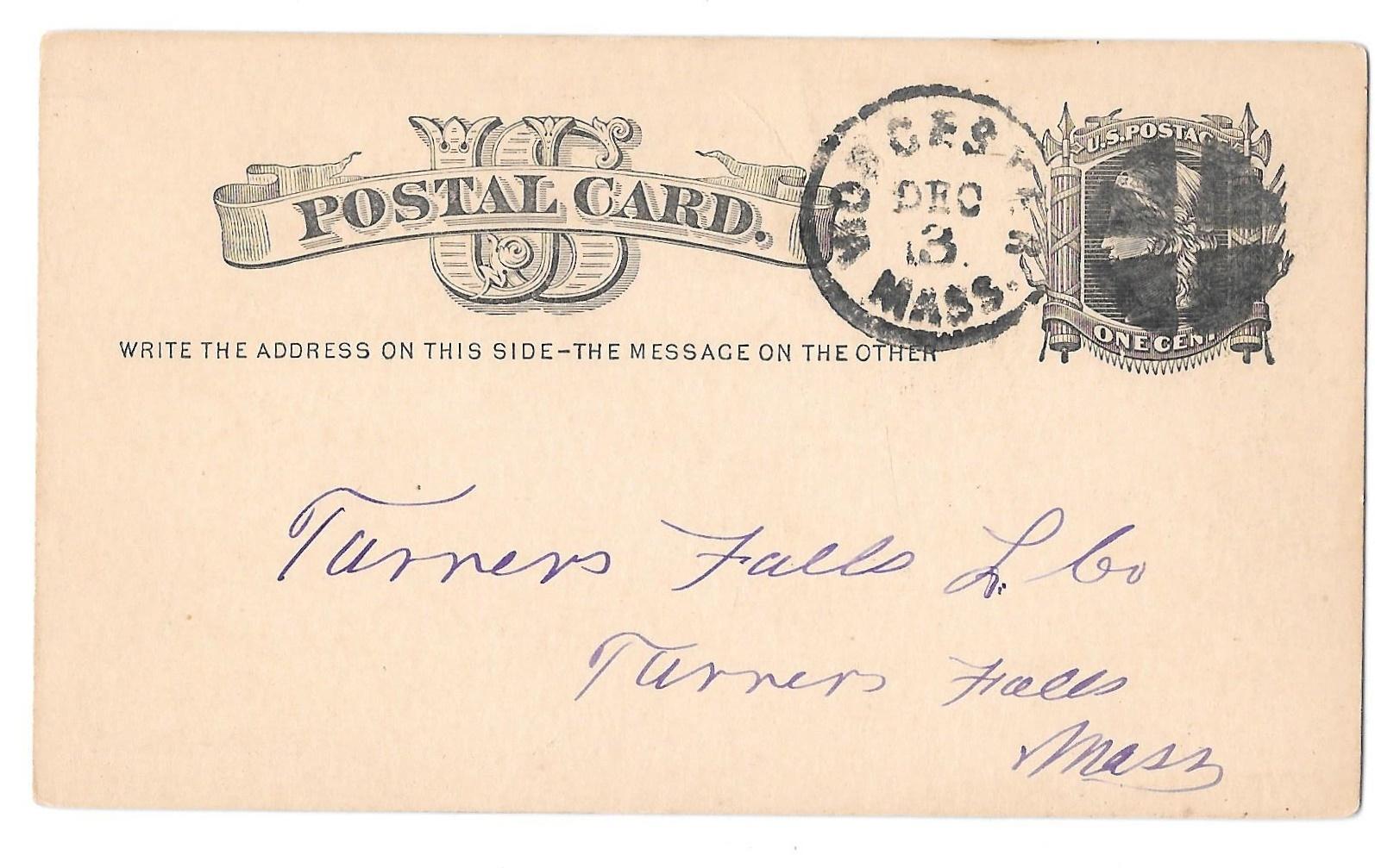 UX5 Worcester Mass 1878 Fancy Cork Cancel Wedges Postal Card