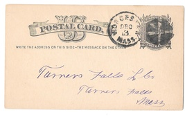 UX5 Worcester Mass 1878 Fancy Cork Cancel Wedges Postal Card - $8.99