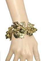 Vintage Inspired Luck Symbols Charmed Bracelet Antique Gold Tone, Elephant,Heart - $16.10