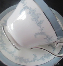 Kenmore Tea Cup and Saucer Soft Blue, Silver Trims English Bone China Ay... - $34.60