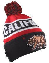 Dissizit! Cali Bear California Red Black Pom Beanie Slick LA Compton Winter Hat image 3