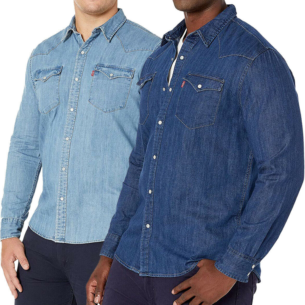 Levi's Men's Big & Tall Barstow Western Pearl Snap Casual Denim Dress Shirt