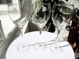 "Set of 3 Tall Stem Swirl Bowl Crystal Wine Goblets 9 3/4"" Tall - $34.64"
