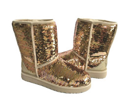 Ugg Classic Short Sequin Sparkles Gold Combo Boots Us 6 / Eu 37 / Uk 4 - Nib - $135.58