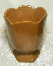 "VINTAGE FRANKLIN RUST BROWN VASE POTTERY SIGNED Approx 6 1/2"" X 5 1/4"" x 5 1/4"" image 1"