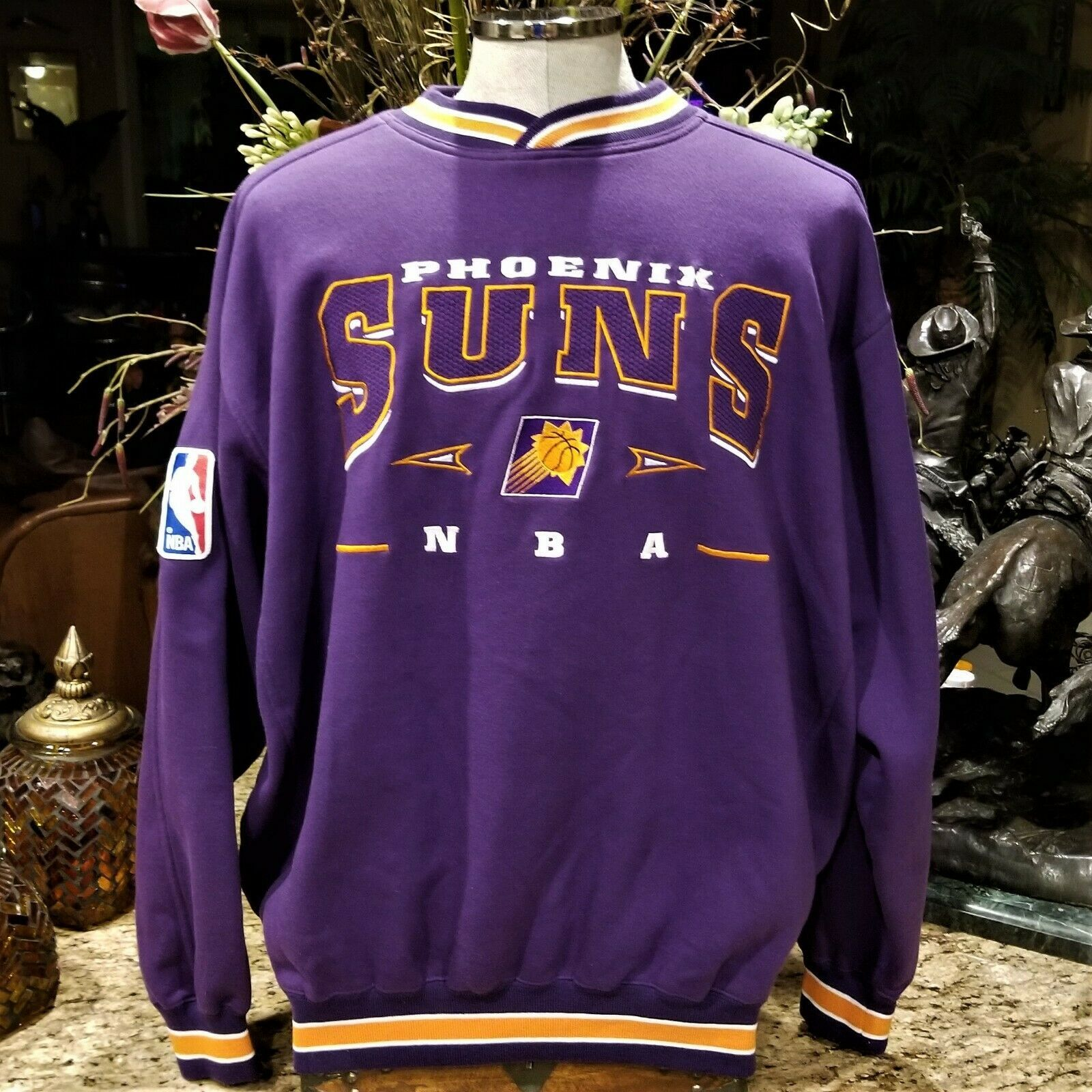 Mens Vintage Lee Sport PHOENIX SUNS Embroidered Logo Purple Sweatshirt Sz XL