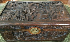 ANTIQUE CARVED WOOD KEEPSAKE BOX with ASIAN THEME & BRASS CLASP - $116.53