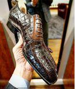 Handmade men crocodile leather dress shoes, men brown patina leather shoes - $203.69