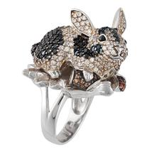 Zirconia Studded Rabbit Sterling Silver Ring - $578.00
