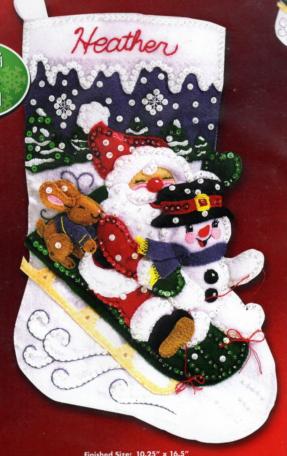 Primary image for Janlynn Christmas Fun Santa Snowman Holiday Sled Felt Stocking Kit 090-0051