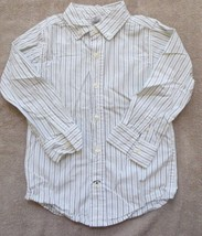 EUC Gymboree Celebrate Spring White Brown Green Striped Shirt Size XS 3-4 3 4 - $2.99