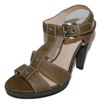 COACH Ginger T-Strap Taupe Leather Sandals Heels womens 7 B New - $28.84