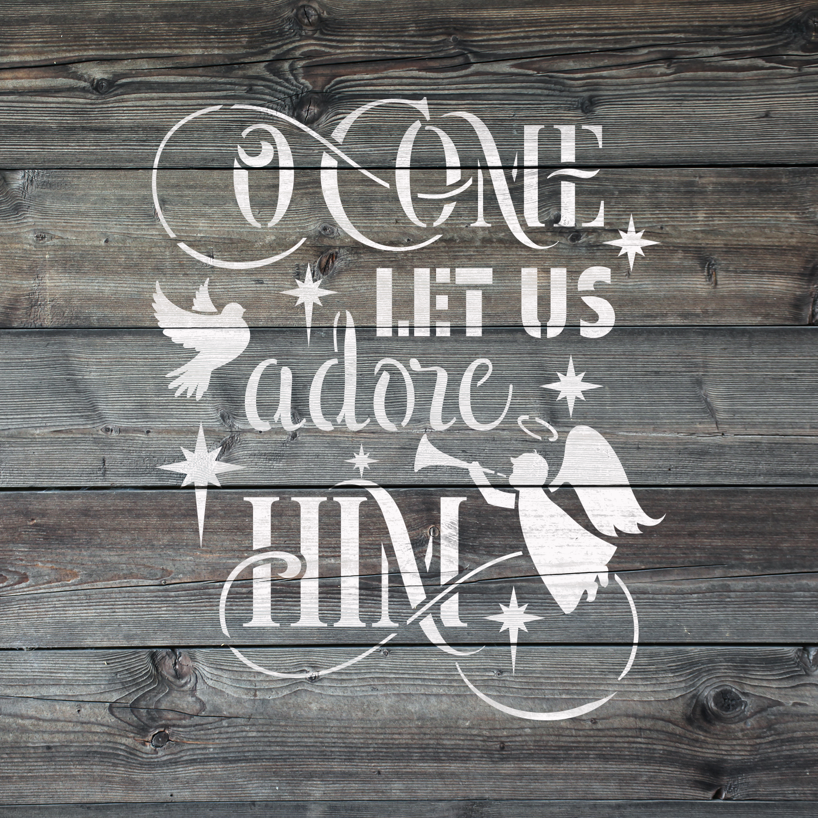 Adore Him Stencil - Reusable Stencils of Adore Him in Small & Large Sizes