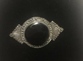 Black Onyx Center Brooch Marcasite Stones Silver Tone Vintage - $29.69