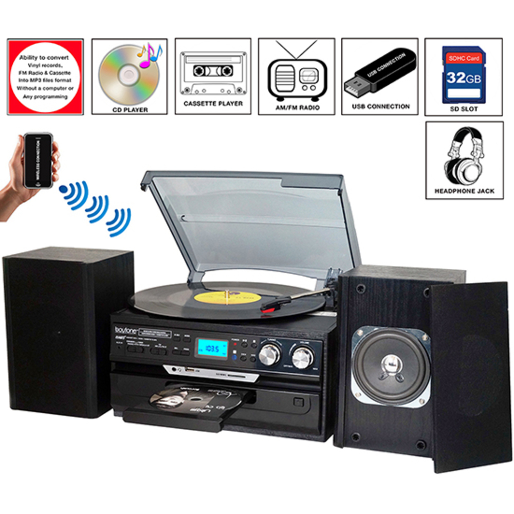 8-in-1 Boytone BT-24DJB with Bluetooth Connection, 3 Speed 33, 45, 78 Rpm, CD, C