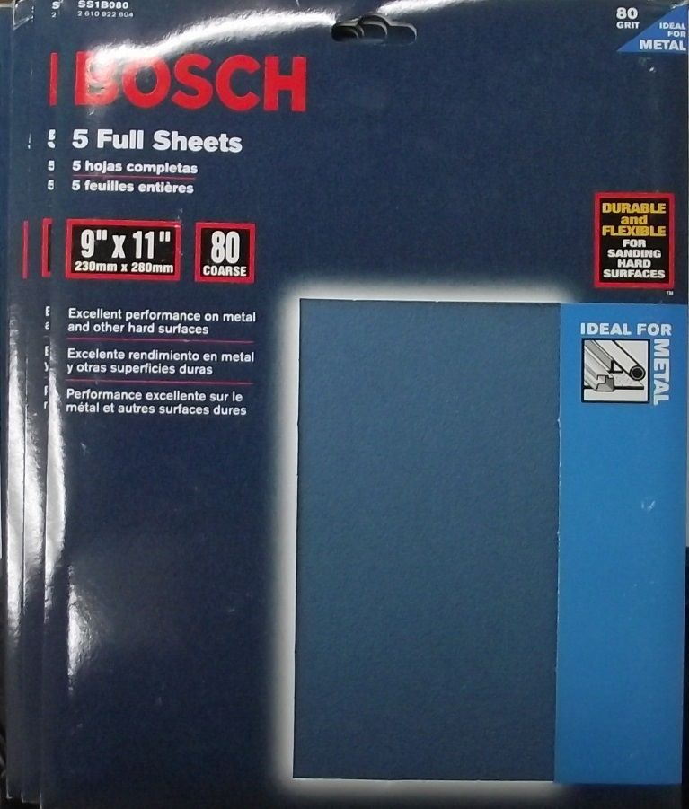 Bosch SS1B080 80 Grit 9 x 11 Sandpaper 5-5pks Italy - $9.90