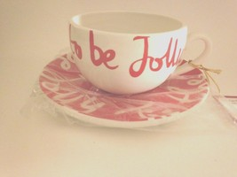 """Department 56 LATTE COFFEE Cup/Saucer""""Tis the Season to be Jolly"""" Red White - $24.70"""