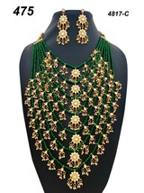 Indian Ethnic Kundan Jadau GoldPlated Necklace Earring Jewelry long haar set 01 - $39.59