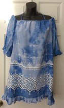 BCBG  MaxAzria Max Azria Sky Blue White Lace Cold Shoulder Dress S NWT $138 - $65.00