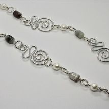 NECKLACE THE ALUMINIUM LONG 80 CM WITH CHALCEDONY AND PEARLS WHITE image 4