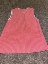 Vintage Handmade Button Full Apron Red & White Stripes With Trim - $29.69